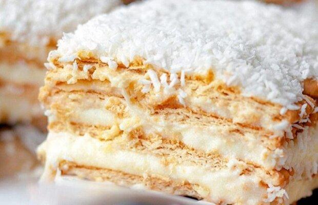 Koláč rafaello. Kokosový koláč na sušenkách, bez pečení