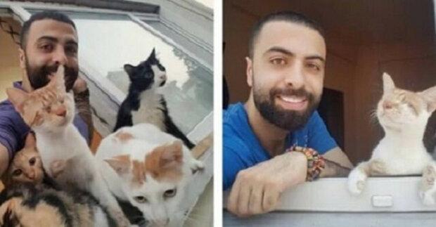 Tento muž zachránil devět koček a ty za ním teď v noci chodí, aby mu poděkovaly