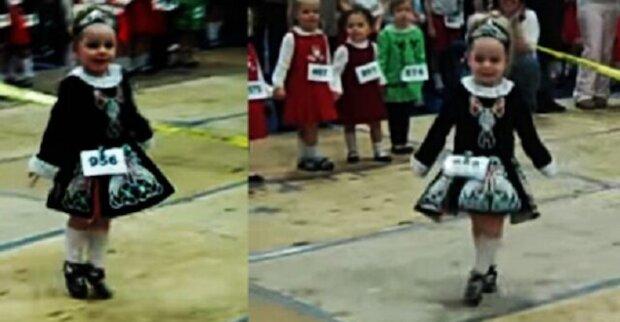 Tříletá holčička tančí irský tanec, jako by létala vzduchem