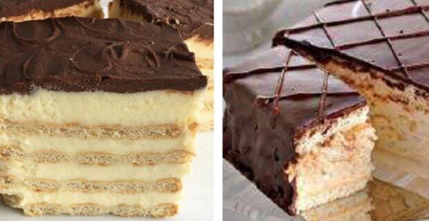 Koláč se sušenkami a bez pečení. Rychle a chutně