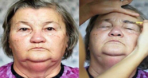 Žena dělá make-up své 70-leté babičce. Výsledek doslova uchvátí