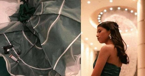 Mladá dívka si sama ušila plesové šaty a proslavila se po celém světě