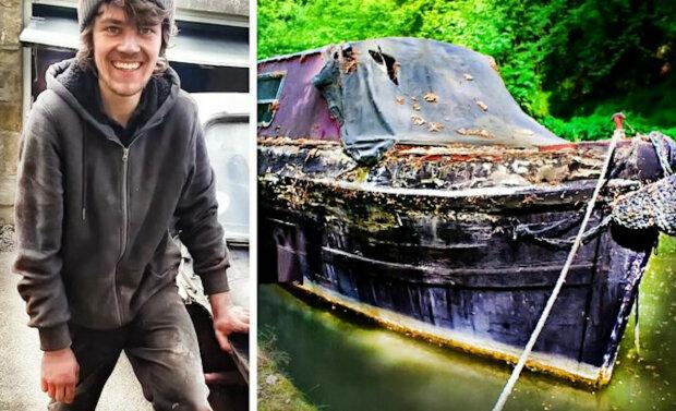 Osmnáctiletý chlapec koupil starý zchátralý člun a přeměnil jej na luxusní plovoucí dům. Rodiče byli uchváceni