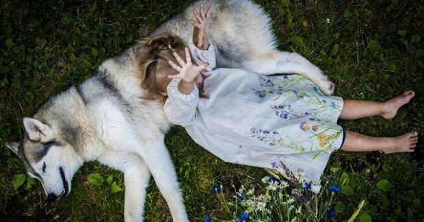 Dcera se narodila a vyrůstala ve smečce psů husky. Příběh zachycený na fotografiích je záviděníhodný