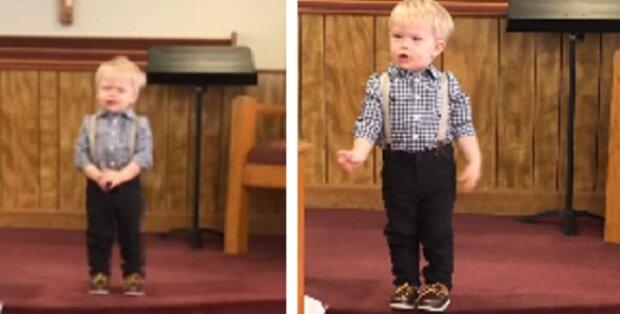 Celý kostel pukal smíchy když 2-letý chlapeček začal s kázaním