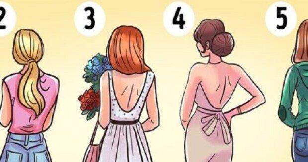 5 žen stojících zády k vám. Které z nich se vám zdají nejatraktivnější?