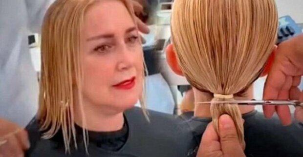 Žena se obrátila na kadeřníka, aby na krátko, však moderně ostříhal její vlasy